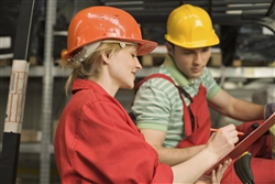 Man and girl in hard hats 1